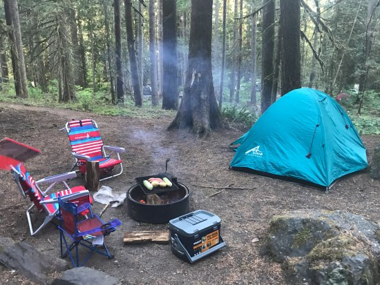 Douglas Fir Campground: There is a bigger tent area at the left of the picture where our main tent was set up.