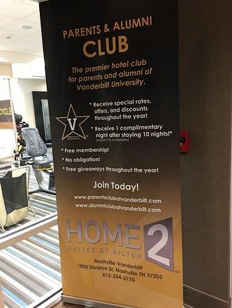 Home2 Suites by Hilton Nashville Vanderbilt: ヴァンダービルト学生や卒業生へのプロモーション