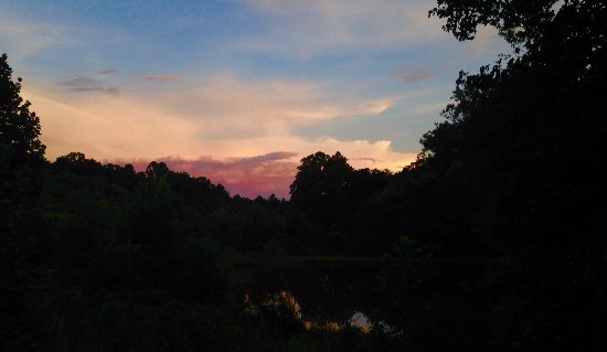 Cana, VA: A sunset view over one of the two lower ponds on the property.
