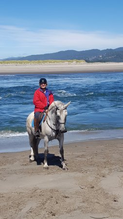Carlton, OR: Myself and the horse I rode, Hanna after a beach canter.