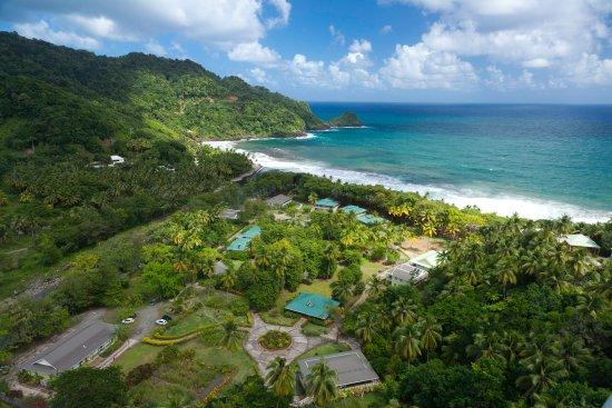 Aerial view of Rosalie Bay Resort