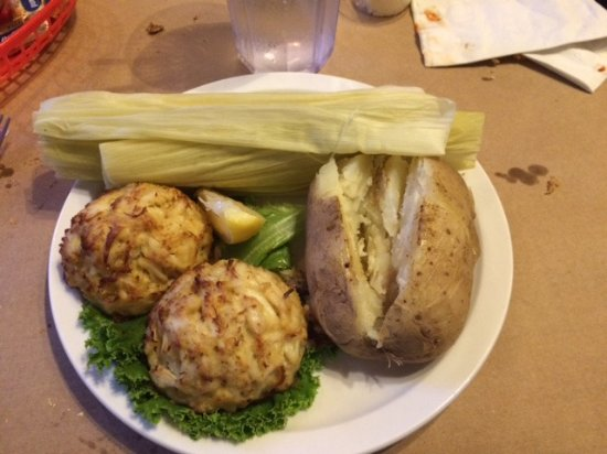 North East, MD: Huge crab cakes.