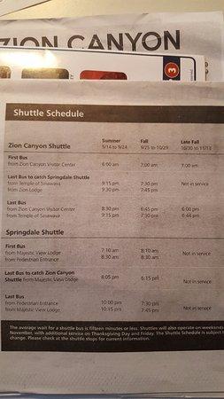 สปริงเดล, ยูทาห์: Shuttle Schedule (Gratis buslijnen