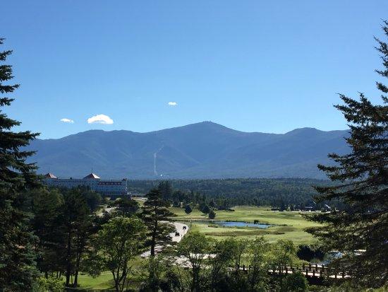 The Lodge at Bretton Woods: View of the Omni Mt. Washington, cog railway trail, and Mt. Washington