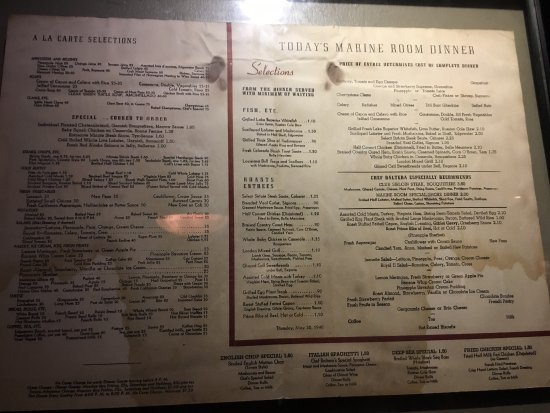 Edgewater Beach Hotel Menu From 1945 On The Wall At Ebc