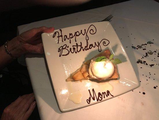 Ruth's Chris Steak House: Mona's Birthday dessert.