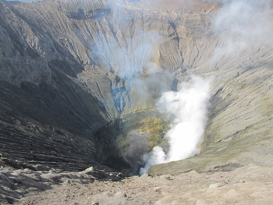 Mount Bromo: The active crater with sulphur deposits at the walls