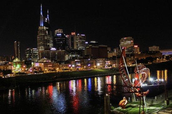 Cumberland River Pedestrian Bridge: Downtown Nashville At Night From The  Bridge