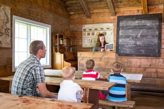 Sandane, Norway: The old school house from 1863 is one of the 44 buildings you can see at the museum.