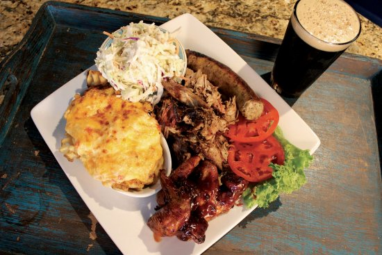 Pages Okra Grill: Smoked BBQ Trio Platter with Local Draft Beer
