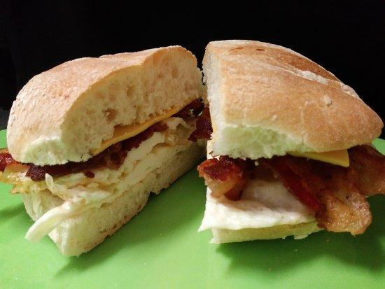 Bunnell, FL: Bacon, egg & cheese breakfast sandwich on Kaiser or Brioche bun