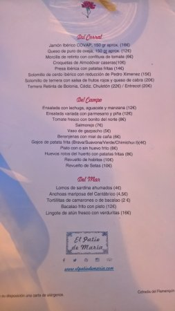 menu - Picture of El Patio de Maria, Cordoba - TripAdvisor