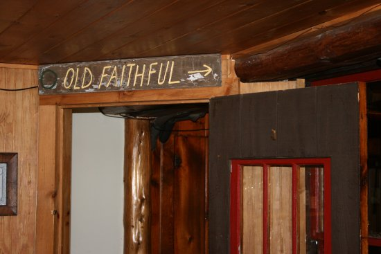 North River, NY: Loghouse Pub featuring a sign from our most popular ski trail