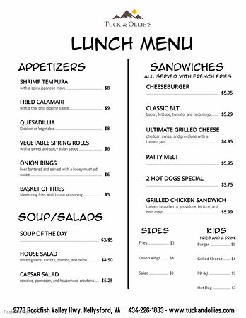 Nellysford, VA: LUNCH MENU