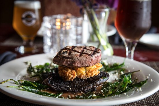 Adamstown, PA: Beef Tower Grilled filet mignon stacked w/a potato cake, & portobello