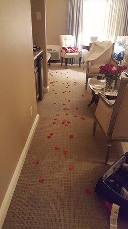 Ethan Allen Hotel: Trail of silk rose petals leading to the bed