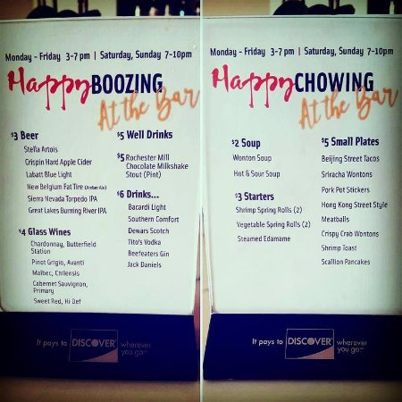 Happy Hour Deals At The Bar First Come First Serve