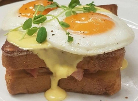 Bread and Honey Food Co: Croque Madame| grilled ham & swiss sandwich on brioche  with 2 free range eggs & hollandaise