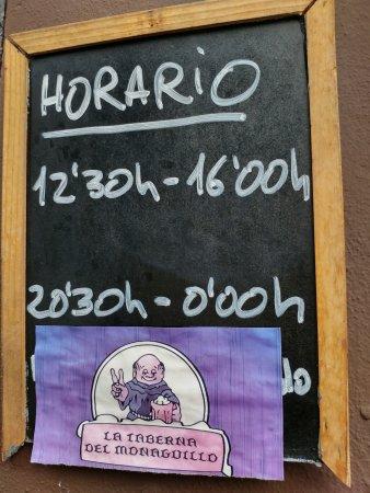 la taberna del monaguillo: Horario