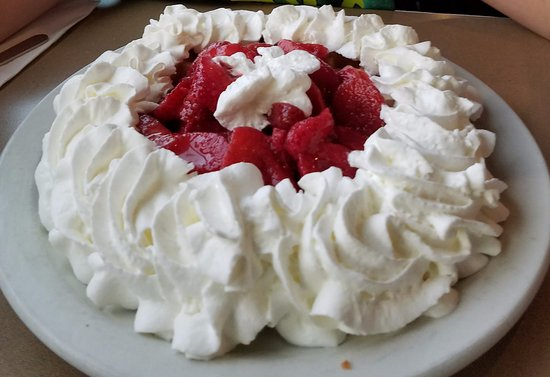 Silverdale, WA: Waffle with strawberries and whipped cream