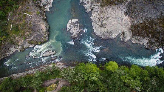 Glide, Орегон: Arial View of the Colliding Rivers