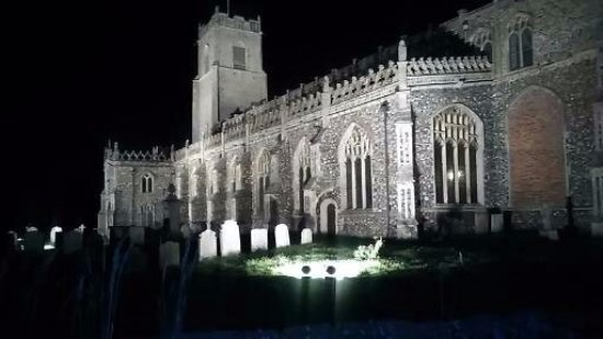 """Blythburgh, UK: Holy Trinity Church """"Cathedral in the Marshes"""" by night"""