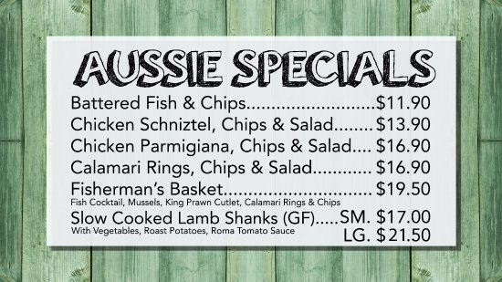 Sanctuary Point, Australia: Bamboo River Restaurants Aussie Specials