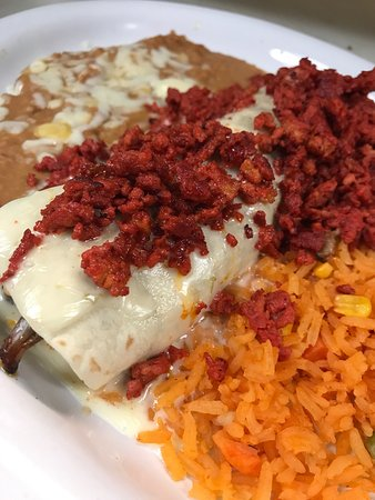 Madisonville, TN: try something different and enjoy this burrito with steak and topped with chorizo and cheese sau