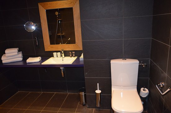 Le Refuge des Aiglons Chamonix: dark, black bathroom...