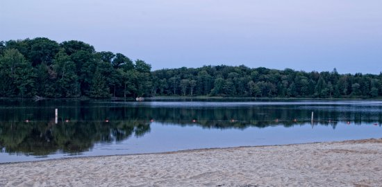 Greentown, PA: The beach at Pickerel Point Camping area at sunset.
