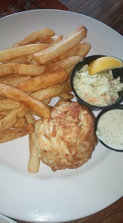 Crab cake with old bay fries and coleslaw picture of for Nick s fish house baltimore md