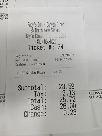 Canyon Diner: Food bill - Believe it or not