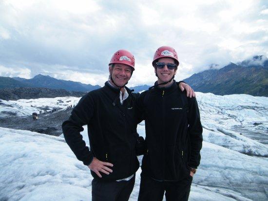 Glacier View, AK: wearing our helmets :D