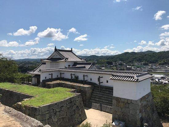 Tsuyama, Japan: 天守閣跡から再建された楼閣を望む