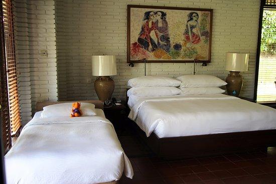 The Chedi Club Tanah Gajah, Ubud, Bali – a GHM hotel: Chambre double avec lit supplémentaire pour notre fils de 3 ans