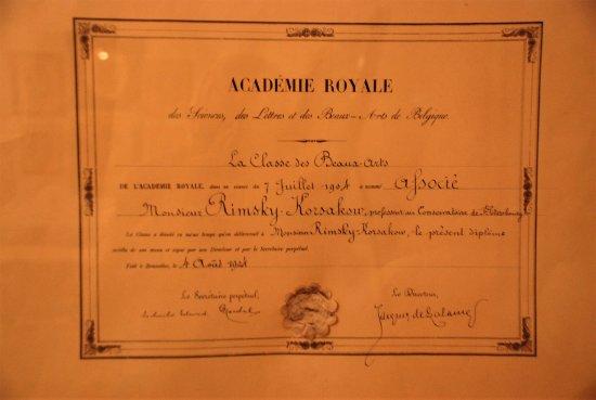Rimsky-Korsakov Museum: prix décerné par l'Académie Royale de Belgique