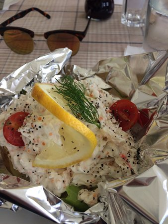 Enkoping, Sweden: Baked potato with prawns - a classic