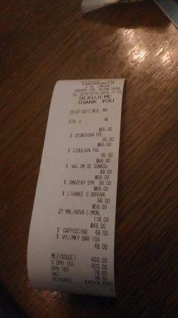 Restaurant Cafe Harmonia : Итоговый чек на компанию наевшихся от пуза 3х человек