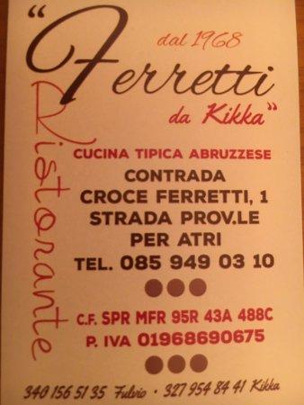 Ristorante Ferretti Pineto: Biglietto da visita