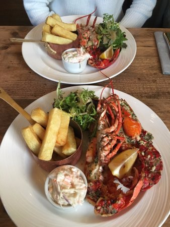 Scalby, UK: Garlic Lobster with Triple Cooked Chips