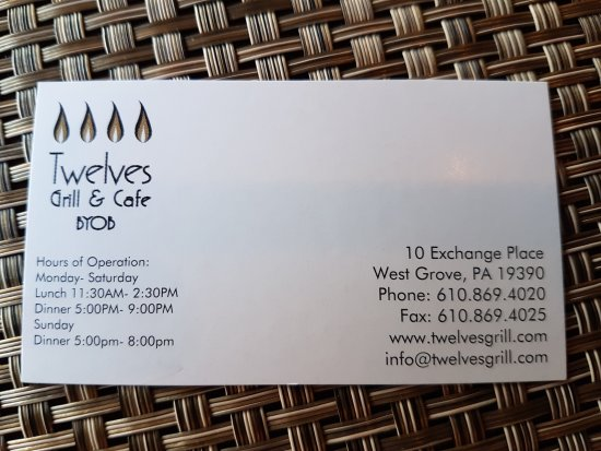 Twelves Grill and Cafe: Outside plus biz card.
