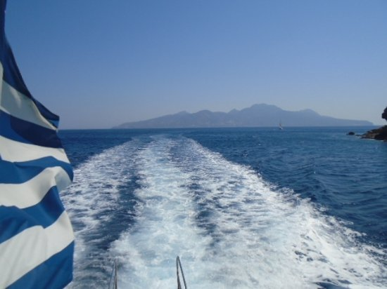 Tigaki, Hellas: Boat trip back from Nisiros