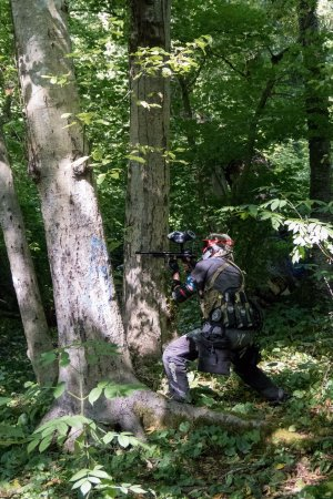 Surrey, UK: From an August 2017 scenario game at Ambush Paintball