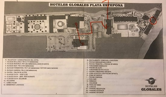 Map of hotel Picture of Globales Playa Estepona Estepona