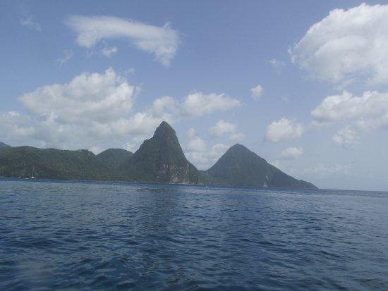 Vieux Fort, St. Lucia: One last look at the Pitons, as we headed back to the ship.