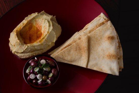 Blackheath, Australia: tahini hummus - pimiento - wild olives - flat bread