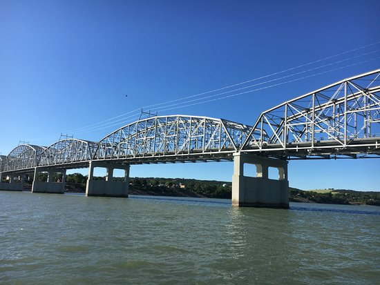 Cedar Shore Resort: A look at the bridge from the water while fishing.