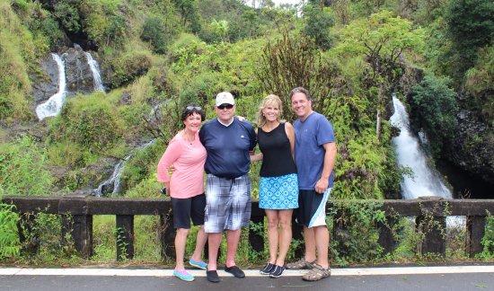 Paia, HI: Our family at 3 Bears Falls