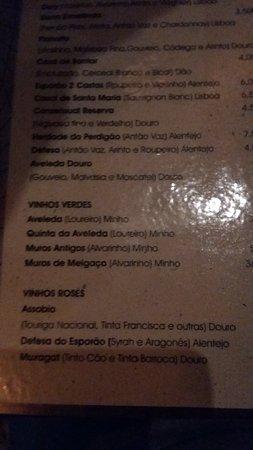 Restaurante Carmo: Listino vini