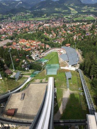 Oberstdorf, Germany: Aussicht vom Flugschanzenturm auf den Freibergsee - Die neue Anlaufspur der Flugschanze - Blick